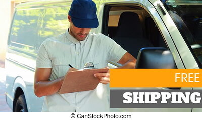 Animation of the words Free Shipping over man with clipboard...