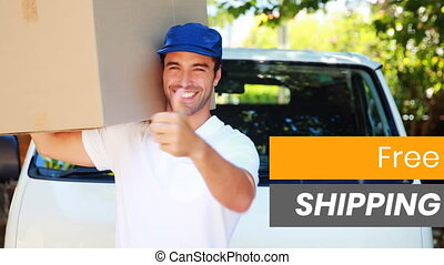 Animation of the words Free Shipping written over delivery ...