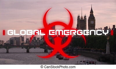 Animation of the words Global Emergency written over health hazard sign and cityscape in the backgro