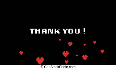 Animation of the words Thank You on video computer game screen