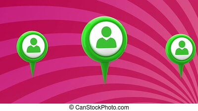 Animation of three green person social media icons over rotating stripes moving in seamless loop