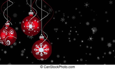 Animation of three red baubles christmas decoration with snow falling on black background