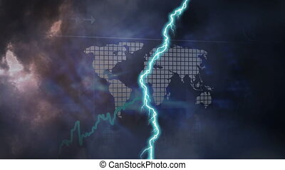 Animation of thunderstorm and world map over stock market display in the background