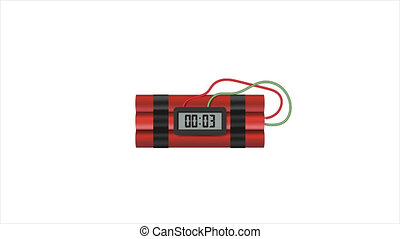 Animation of time bomb blast. Dynamite with a timer. Big bang. HD Videos with Alfa.