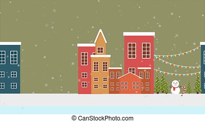 Animation of town Christmas landscape