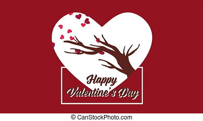 Animation of tree with love. Valentine day