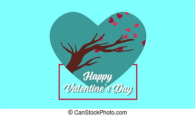 Animation of tree with love. Valentine day collection