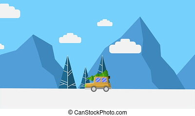 Animation of truck bring tree Christmas collection