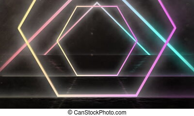 Animation of tunnel of multi coloured bright hexagons moving on black background