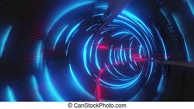 Animation of tunnel with blue lights moving in a seamless loop