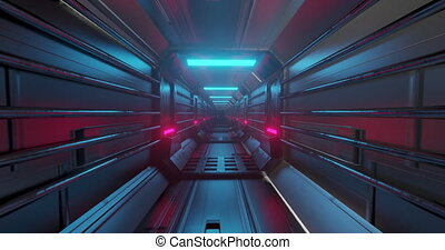 Animation of tunnel with pink lights moving in a seamless loop