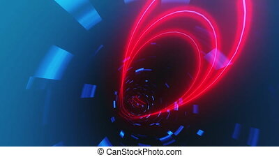 Animation of tunnel with red and blue lights moving in a seamless loop