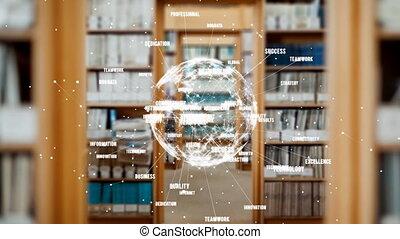Animation of turning globe against library background