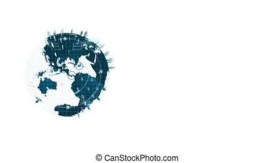 Animation of turning globe against white background