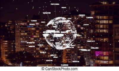 Animation of turning globe with business words