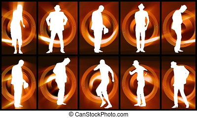 Animation of twelve men white silhouettes dancing hip hop and modern dance against orange and black background