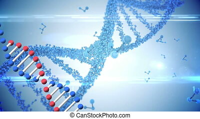 Animation of two DNA strand rotating over blue molecules ...