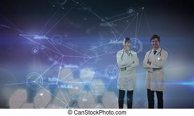 Animation of two doctors crossing their arms over statistics...