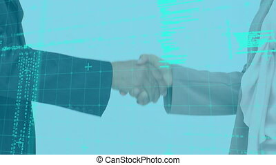 Animation of two people shaking hands over data recording ...