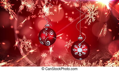Animation of two red christmas baubles decoration and snowflakes falling on red background