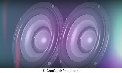 Animation of two sound speakers bouncing and booming on black background