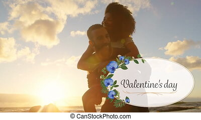 Animation of valentines day with a couple in love in black background