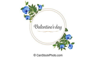 Animation of Valentine's Day with flowers on white background