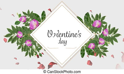 Animation of valentines day with flowers on white background
