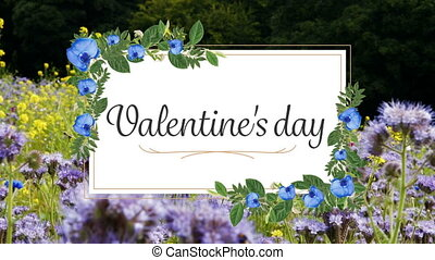 Animation of valentines day with garden on background