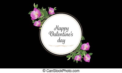 Animation of valentin's day with flowers on black background