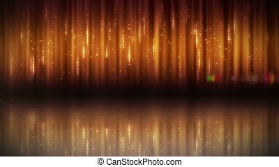 Animation of vertical golden background with wandering star...