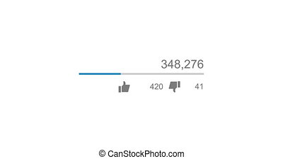 Animation of video views counter, counter of likes and dislikes close up. 4K video. Animation with alpha matte.