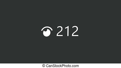 Animation of video views counter, user count of live stream close up. 4K video. Animation with alpha matte