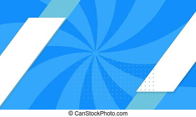 Animation of white and green shapes over rotating blue bright stripes in seamless loop