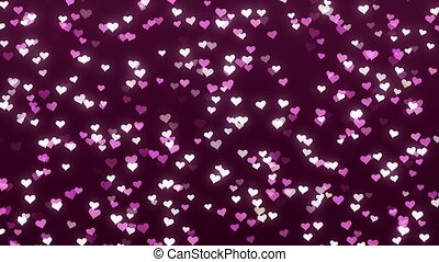 Animation of white and pink hearts on a claret background