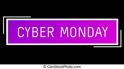 White and purple Cyber Monday text appearing against a black...