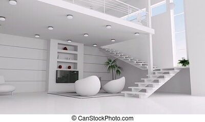 Animation of white apartment - Modern interior of white...