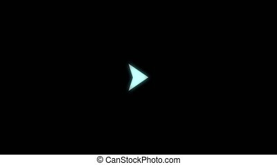 Animation of white arrow fast forward with blue light effect on black background
