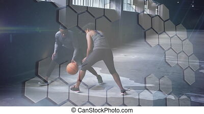Animation of white grid over man and woman playing basketball