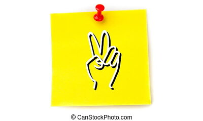 Animation of white hand icon flickering on yellow sheet of ...