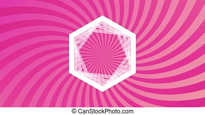 Animation of white hexagon outlines over rotating stripes moving in seamless loop