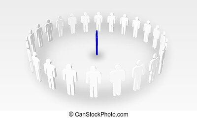 Animation of white icon people in a circle and a green one in the center. Concept of leadership in business