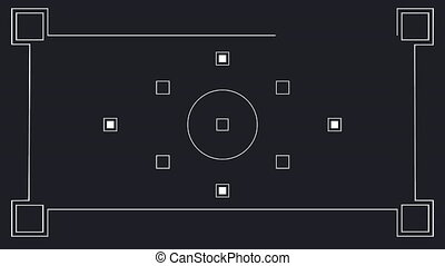 Animation of white markers moving and frame on black background