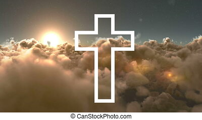 Animation of white outline of Christian cross with grey ...