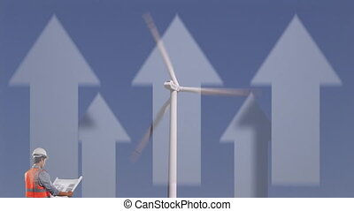 Animation of wind turbine turning and an engineer reading ...