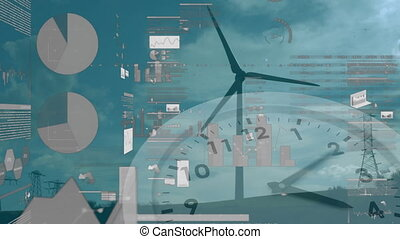 Animation of wind turbine turning, clock moving and stock ...