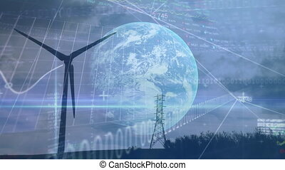 Animation of wind turbine turning, planet Earth and stock ...