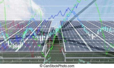 Animation of wind turbines turning, solar panels, clock ...