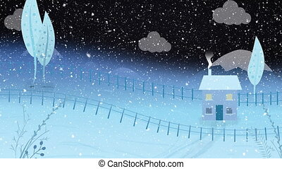 Animation of winter scenery landscape with snow falling