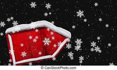 Animation of winter scenery with red sign